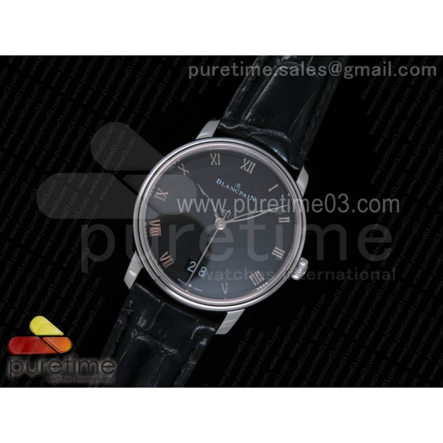 Villeret Grande Date SS Black Dial on Black Leather Strap A6950