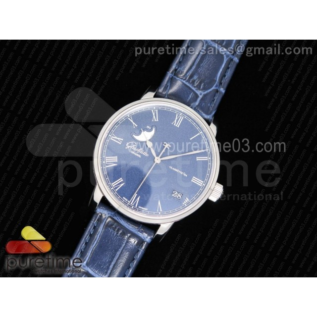 Excellence Panorama Date Moon Phase SS GF 1:1 Best Edition Blue Dial on Blue Leather Strap A100