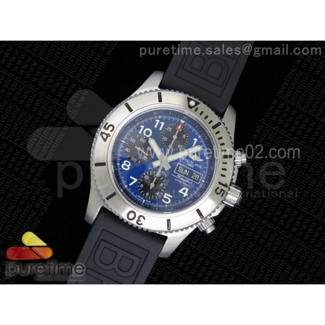 SuperOcan SteelFish SS Blue Dial on Black Rubber Strap A7750