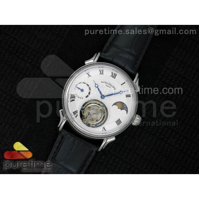 Classic Tourbillon SS White Textured Dial on Black Leather Strap