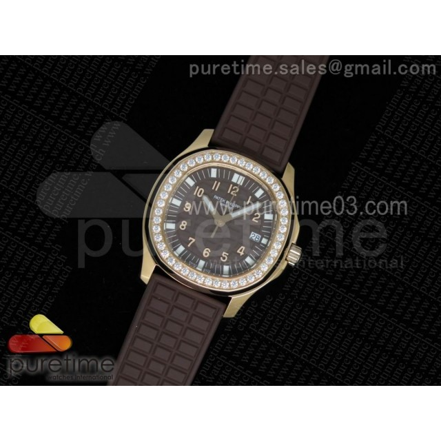 Aquanaut Luce RG Brown Textured Dial Diamonds Bezel on Brown Rubber Strap A23 Quartz