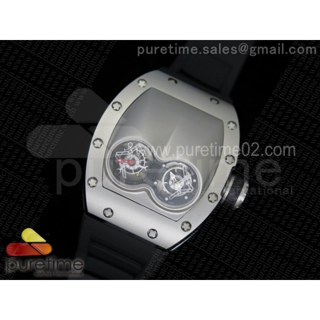 RM053 SS Fake Tourbillon Skeleton Dial on Black Rubber Strap A2824