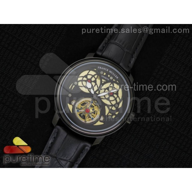 Giga Tourbillon PVD Black Skeleton Dial on Black Leather Strap A23J
