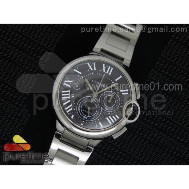 Ballon Bleu De Cartier Chrono 47mm SS Black Textured Dial on SS Bracelet A7750
