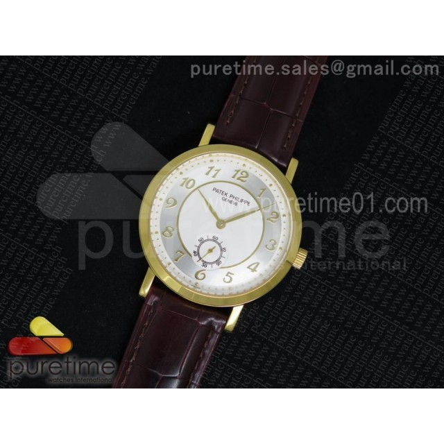 Calatrava 5196 Manual Winding YG White Dial on Brown Leather Strap A23J
