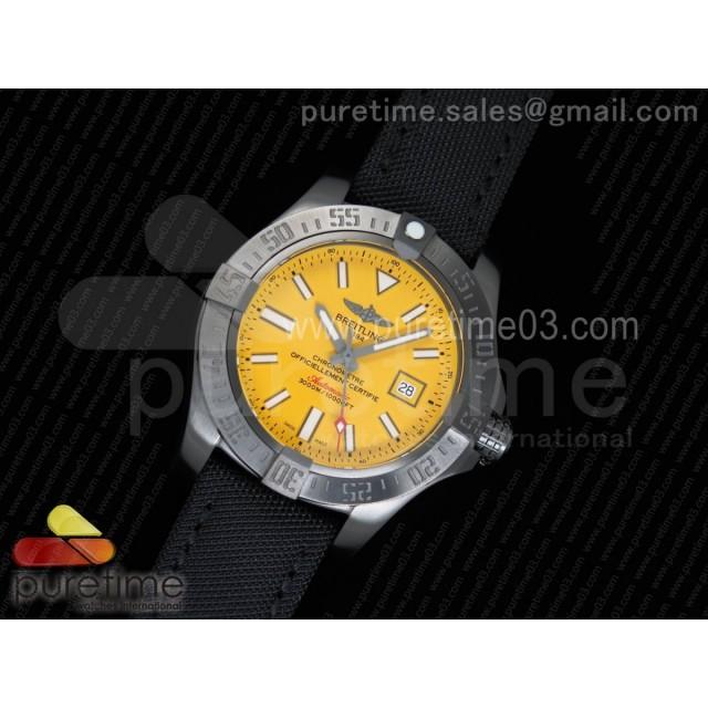 Avenger II Seawolf PVD GF 1:1 Best Edition Yellow Dial On Black Nylon Strap A2824