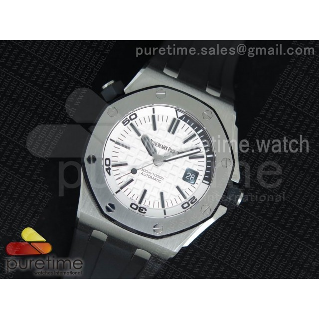 Royal Oak Offshore Diver JF 1:1 Best Edition White Dial on Black Rubber Strap A3120