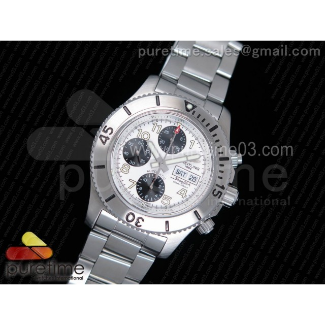 SuperOcan SteelFish Chronograph SS White/Black Dial on SS Bracelet A7750