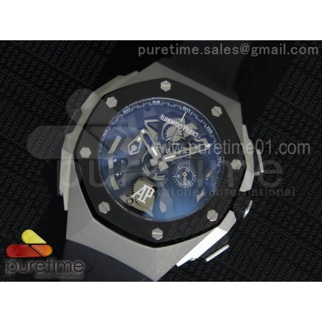 Royal Oak Concept Chrono SS Black Skeleton Dial on Black Rubber Strap Jap Quartz