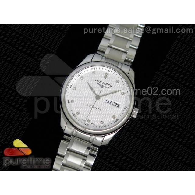 Master Day Date SS White Textured Dial on SS Bracelet A2836