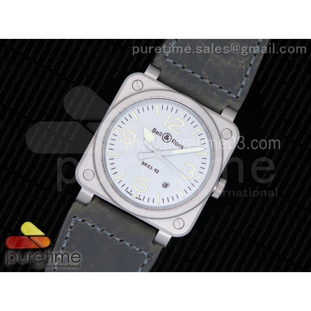 BR 03-92 Horolum Gray Dial on Gray Leather Strap MIYOTA 9015