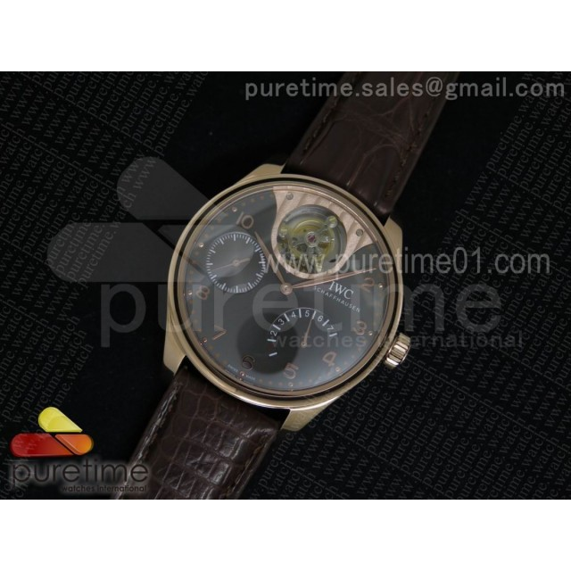 Portuguese Tourbillon Mystere RG TF Best Edition Gray Dial on Brown Croco Leather Strap