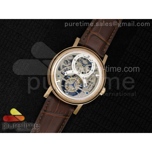 Classique 2932 RG Tourbillon Skeleton Dial on Brown Leather Strap