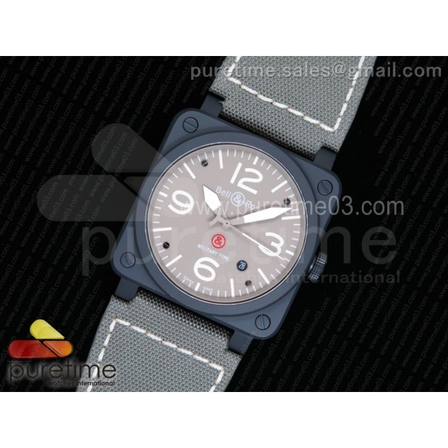 BR 03-92 PVD Military Type Gray Dial on Green Nylon Strap MIYOTA 9015