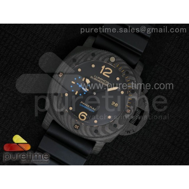 PAM616 Carbotech V6F Best Edition on Blue Logo Black Rubber Strap P9000