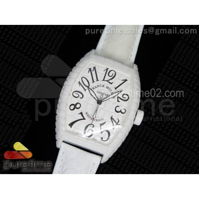 Black Croco White Ceramic White Dial on White Leather Strap A23J