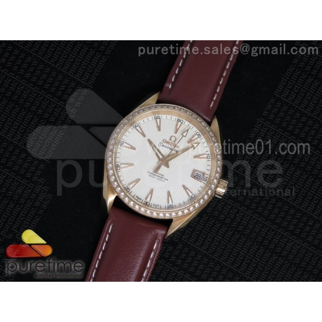 Aqua Terra 38.5mm RG White Textured Dial Diamonds Bezel on Brown Leather Strap A8501