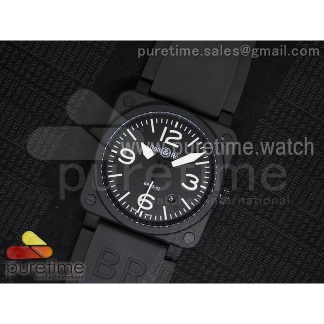 "BR 03-92 ""Ceramic"" PVD Black Dial on Black Rubber Strap MIYOTA 9015 V2"