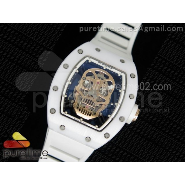 RM052 White Ceramic Gold Skull Dial on White Rubber Strap MIYOTA8215
