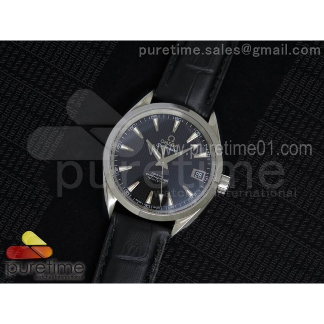 Aqua Terra 38.5mm SS Black Textured Dial on Black Leather Strap A8500