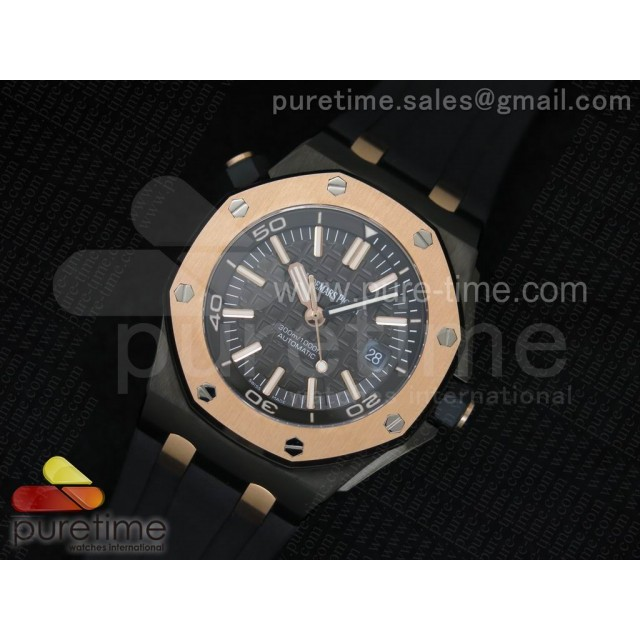Cheap Discount Replica Royal Oak Offshore Diver Noob QEII CUP 2014 on Black Rubber Strap A3120