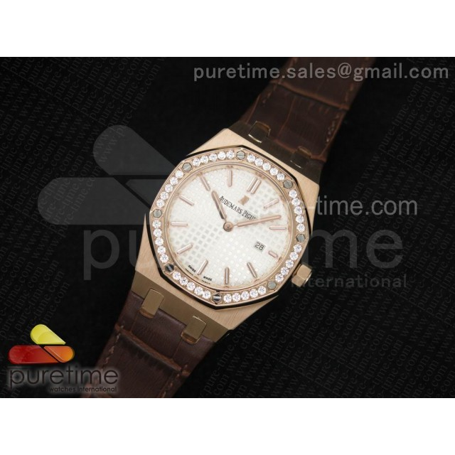 Cheap Discount Replica Lady Royal Oak 33mm RG White Textured Dial Diamonds Bezel on Brown Leather Strap RONDA Quartz