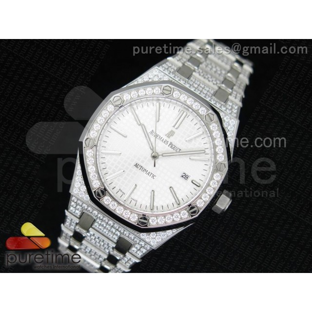 Cheap Discount Replica Royal Oak 41mm 15400 SS Full Paved Diamonds White Dial on Diamonds Bracelet A23J