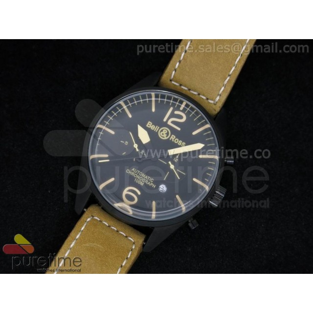 Cheap Discount Replica Vintage BR 126 Heritage Black Dial on Brown Leather Strap A21J