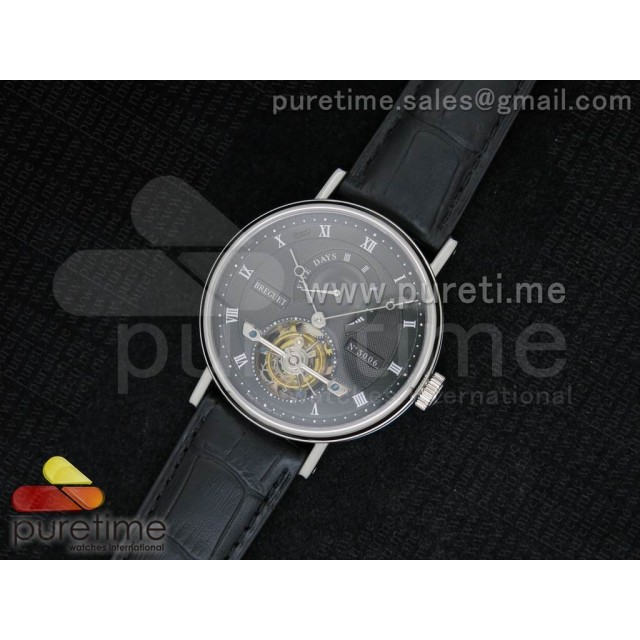Cheap Discount Replica Jubilee Tourbillon 5 Days SS Black Textured Dial on Black Leather Strap