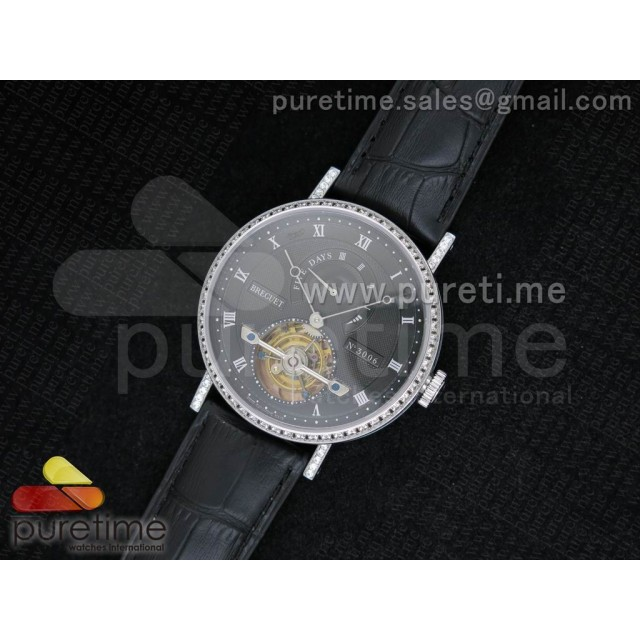 Cheap Discount Replica Jubilee Tourbillon 5 Days SS Black Textured Dial Diamonds Bezel on Black Leather Strap