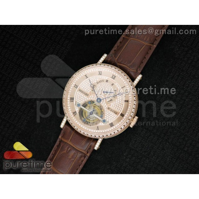 Cheap Discount Replica Jubilee Tourbillon 5 Days RG Full Paved Diamonds Dial on Brown Leather Strap