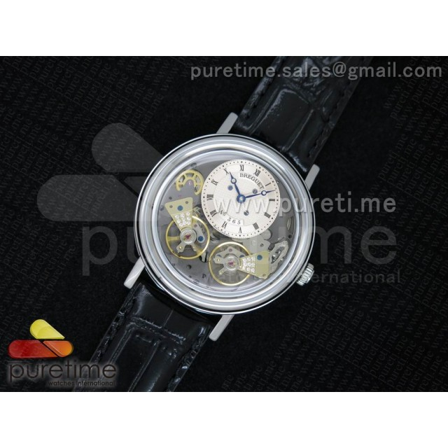 Cheap Discount Replica Tradition 7027 SS White Dial on Black Leather Strap A23J