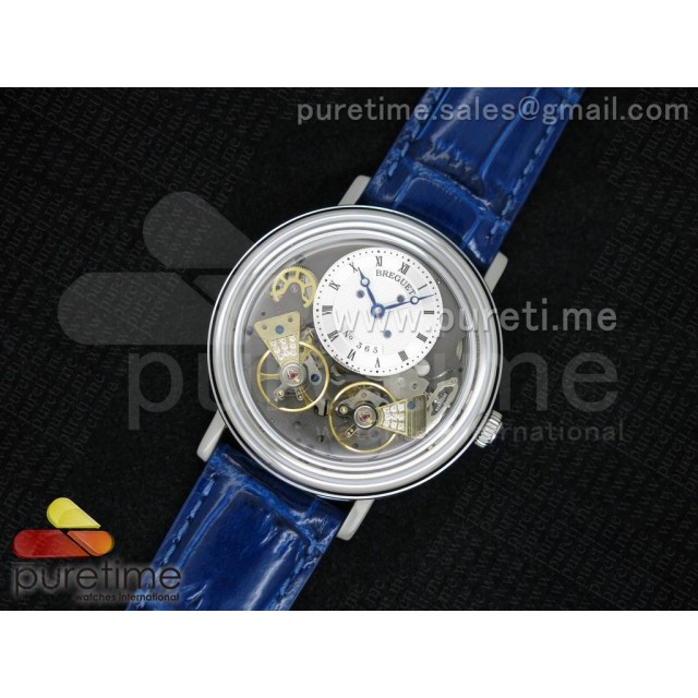 Cheap Discount Replica Tradition 7027 SS White Dial on Blue Leather Strap A23J