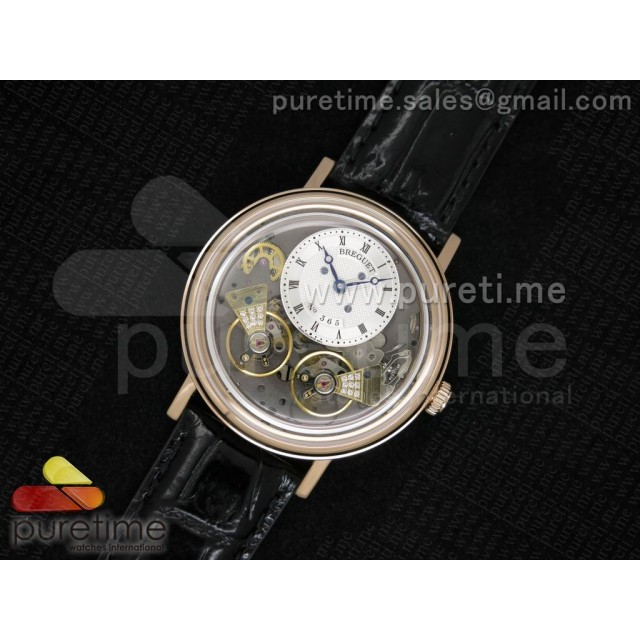 Cheap Discount Replica Tradition 7027 RG White Dial on Black Leather Strap A23J