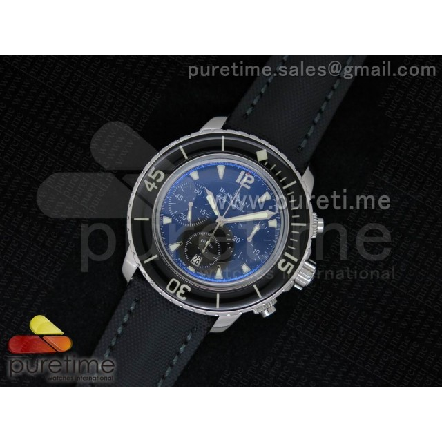 Cheap Discount Replica 50 Fathoms Chrono Limited Edition SS Black Dial on Black Nylon Leather Strap A7750