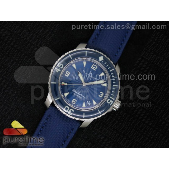 Cheap Discount Replica Fifty Fathoms 1:1 Noob Best Edition SS Blue Dial on Sail-canvas Strap A2836