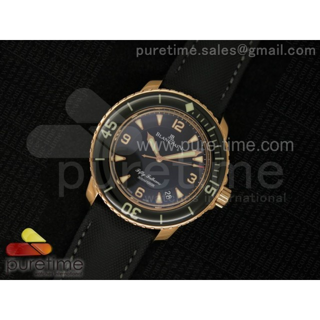 Cheap Discount Replica Fifty Fathoms 1:1 Noob Best Edition RG Black Dial on Sail-canvas Strap A2836