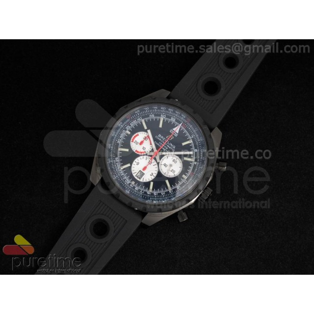 Cheap Discount Replica Chronomatic 49mm PVD Black Dial with White Subdials on OR Rubber Strap A7750