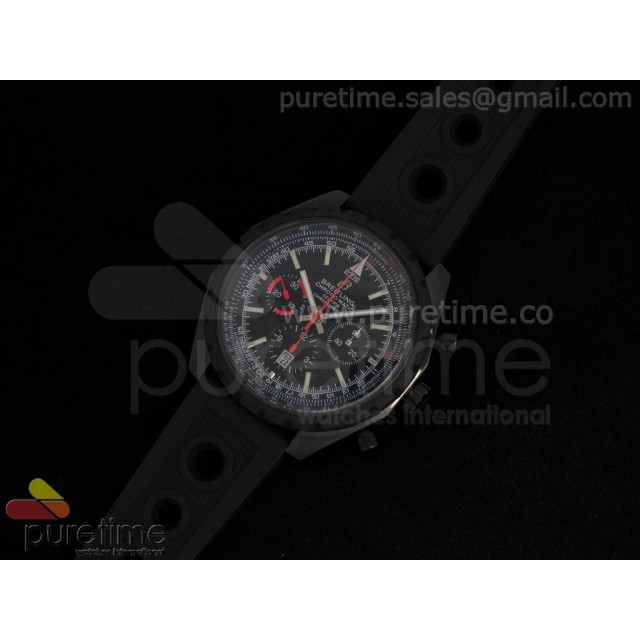 Cheap Discount Replica Chronomatic 49mm PVD Black Dial with Black Subdials on OR Rubber Strap A7750