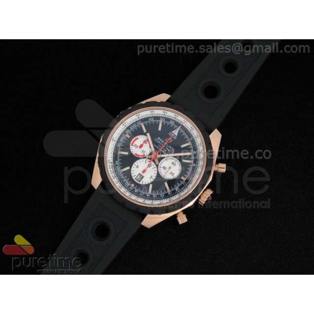 Cheap Discount Replica Chronomatic 49mm RG Black Dial with White Subdials on OR Rubber Strap A7750