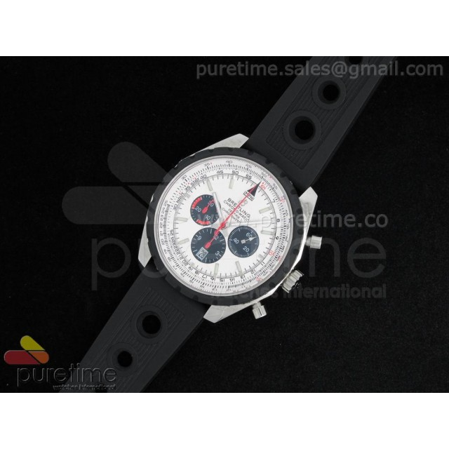 Cheap Discount Replica Chronomatic 49mm SS White Dial with Black Subdials on OR Rubber Strap A7750