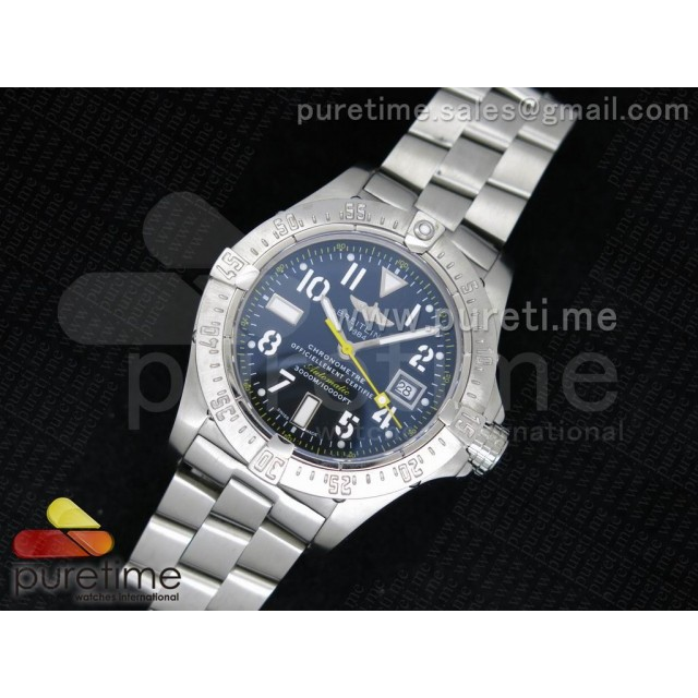 Cheap Discount Replica Avenger Seawolf 44mm SS Black Dial with Yellow Second Hand and Number Markers on SS Bracelet A2834