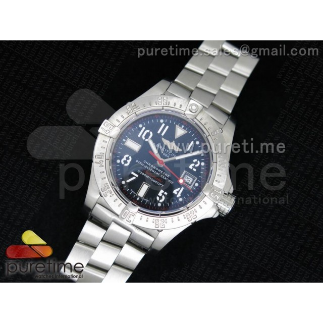 Cheap Discount Replica Avenger Seawolf 44mm SS Black Dial with Red Second Hand and Number Markers on SS Bracelet A2834
