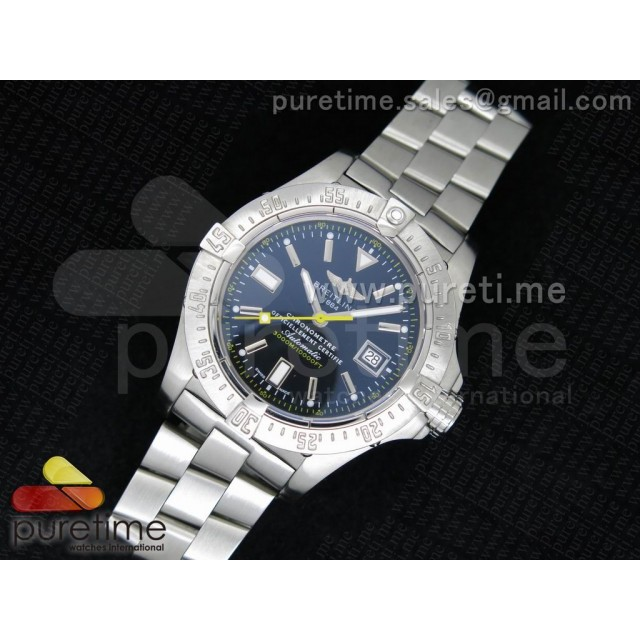 Cheap Discount Replica Avenger Seawolf 44mm SS Black Dial with Yellow Second Hand on SS Bracelet A2834