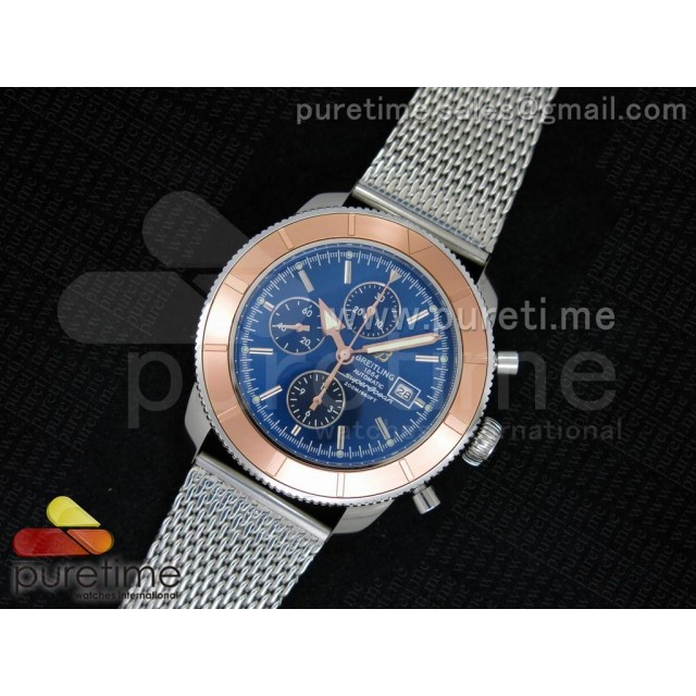 Cheap Discount Replica Super Ocean Heritage Chrono SS Blue Dial on SS Mesh Bracelet A7750