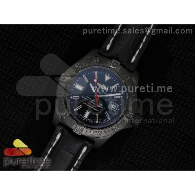 Cheap Discount Replica Avenger Seawolf 44mm PVD Black Dial Red Second Hand on Black Croco Leather Strap A2824