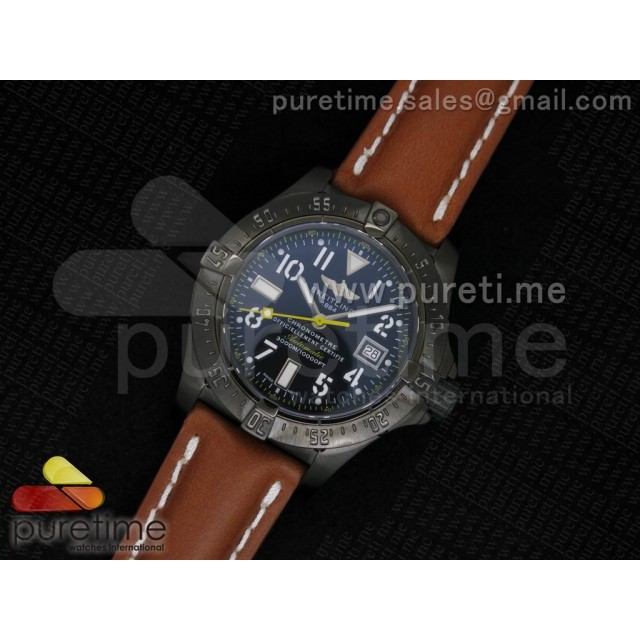 Cheap Discount Replica Avenger Seawolf 44mm PVD Black Dial Yellow Second Hand on Deep Brown Leather Strap A2824