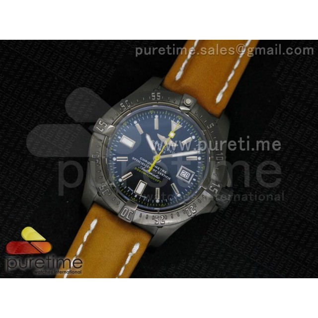 Cheap Discount Replica Avenger Seawolf 44mm PVD Black Dial Yellow Second Hand on Brown Leather Strap A2824