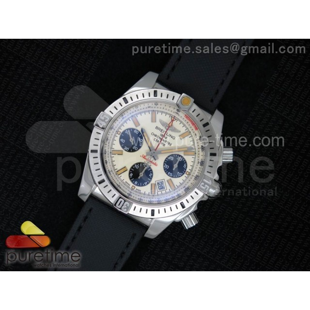 Cheap Discount Replica Chronomat B01 SS Cream Dial Black Subdials on Black Nylon Strap A7750