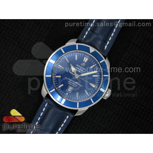 Cheap Discount Replica Super Ocean Heritage SS Blue Dial on Blue Leather Strap A2824